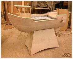 Boat in the workshop for adjustment.