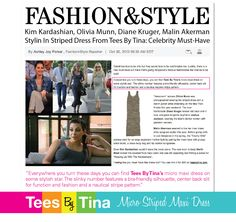 """""""Everywhere you turn these days you can find Tees By Tina's micro maxi dress on some stylish star. The slinky number features a bra-friendly silhouette, center back slit for function and fashion and a nautical stripe pattern."""""""