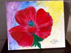 Poppy acrylic painting