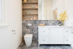 North-Carlton-Renovation-by-eat-bathe-live Small bathroom shelf ideas to optimize your bathroom space Small Bathroom Shelves, Shelves Above Toilet, Small Bathroom Organization, Bathroom Trends, Bathroom Renovations, Remodel Bathroom, Modern Bathroom Design, Kitchen Design, Toilet Seat Hinges