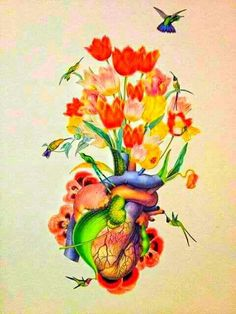 Surreal artistic anatomical/botanical collage by Travis Bedel/bedelgeuse.Flowers with a heart Arte Com Grey's Anatomy, Anatomy Art, Art And Illustration, Travis Bedel, Heart Poster, Collage Artwork, Collages, Photocollage, Medical Art