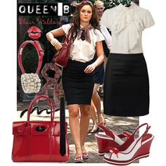 Blair Waldorf Style love the red bag Estilo Blair Waldorf, Blair Waldorf Outfits, Blair Waldorf Style, Gossip Girl Outfits, Gossip Girl Fashion, Fashion Tv, Fashion Outfits, Gossip Girls, Cowgirl Style Outfits