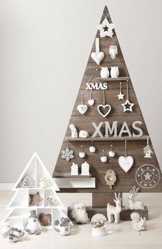 Shelved Wooden Christmas Tree Wall Mounted With White Ornaments