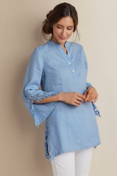 Meadowsweet Linen Tunic - Linen Tunic, Crochet Tunic | Soft Surroundings
