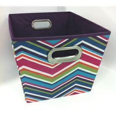 Lowes.com - Style Selections 12-in W x 10-in H x 14-in D Chevron Print Fabric Milk Crate