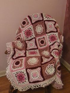 """Ravelry: Project Gallery for 130-6 Crochet blanket in """"Paris"""" pattern by DROPS design"""