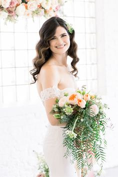 Blooms in blush, peach, and pink tones designed by @ashaddevents make us believe that love truly is in the details. | Photography: @mandelette #stylemepretty #weddingflowers #weddingbouquet #springwedding Wedding Reception Flowers, Spring Wedding Flowers, Wedding Flower Arrangements, Floral Wedding, Wedding Bridesmaid Bouquets, Bride And Groom Pictures, Professional Wedding Photography, Fit And Flare Wedding Dress, Long Sleeve Wedding