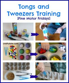 This week we worked with tongs and tweezers to practice a variety of fine motor skills. We used them with wooden blocks, pom poms and Cheerios.