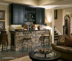 We are thinking of ideas on finishing the game room in the basement.   LOVED this bar area.