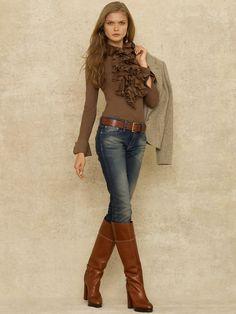 Jennifer Ruffled Blouse - Long-Sleeve Knits & Tees - RalphLauren.com