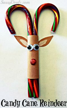 Candy Cane Reindeer Christmas Craft or Treat For Kids You can make an adorable reindeer out of candy canes! All you need is paper, glue, googly eyes, and glitter. These could be great for an ornament..or class treat....