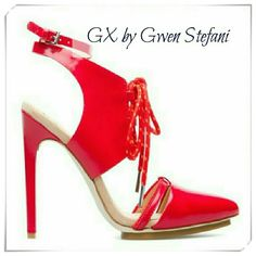"""👠 GX by Gwen Stefani Chiyo sandals heels 🌟Sexy stilettos with lace up detail, anckle strap, and island platform. This shoe is for those, who wear high heels regulary. The red laces have a bit of orange color on them.  🌟Details: heel 4-3/4"""", platform 3/4"""", high arch, the shoe fits up to 1/2 size small. One of the 7.5 pairs has demaged goring at the anckle strap. Faux patent leather.  🌟Please use only ✔OFFER 👈 button for all price negotiations. I'll do 👉🍓a price drop⤵ for you for…"""