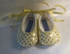 Sweet Isabella Glittering Gold Sparkle Baby Shoes - Ballet Style With Silver Ankle Ties For Infants And Toddlers on Etsy, $19.99