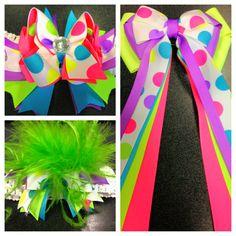 bright color hair bows and a tutu sash bow for the Color Run Marathon