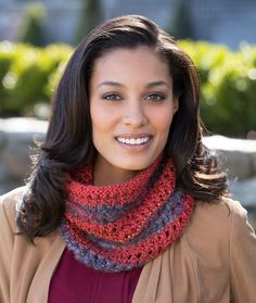 Four-in-One Cowl Free Knitting Pattern from Red Heart Yarns