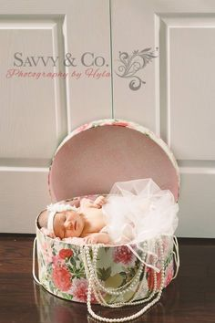Newborn photo. Wrap up your baby girl in your wedding veil!