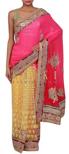 Buy Online from the link below. We ship worldwide (Free Shipping over US$100) http://www.kalkifashion.com/half-and-half-saree-adorn-in-zari-and-thread-embroidery-only-on-kalki.html