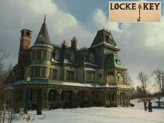 "A look at how they created Keyhouse, the magical ancestral family home for the Netflix show ""Locke & Key,"" and where it was filmed. Michael Morris, Upstairs Landing, Newest Tv Shows, Old Mansions, Film Studio, Key Hooks, Grand Staircase, House On A Hill, Entry Hall"