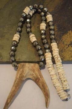 Boho Necklace, Pyrite Necklace, Deer Antler Necklace,Forked Antler Necklace,Double Horn Necklace, Tusk Necklace, Fish Vertebra Necklace,Mom by NatnatCreations on Etsy