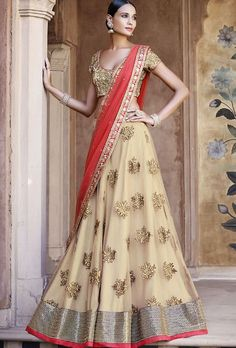 Beige And Pink Designer Lehenga Saree - Desi Royale