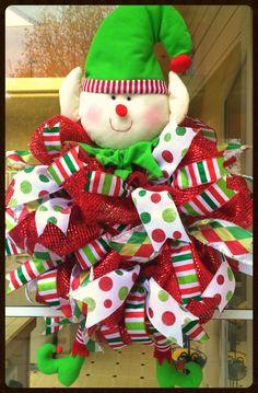 Adorable Whimsical Christmas Elf Wreath - Elf Decor - Red & Green Santa's Helper Wreath - Holiday Door Decor - Merry Christmas - Deco Mesh by StephsDoorDecor on Etsy