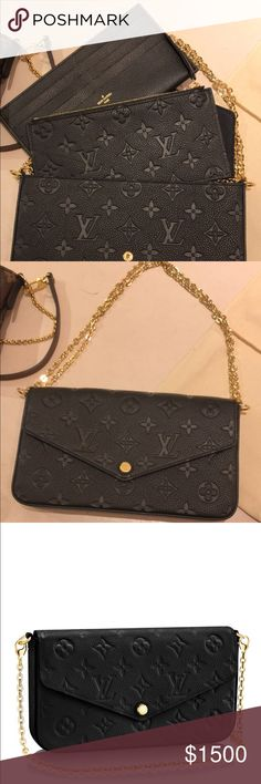 LV Félicie Clutch 100% authentic Louis Vuitton Pochette Felicie in Monogram Empreinte Leather. Brand New with tags! Dustbag included, as well as two inserts (zip insert, card slot insert)  Please note price includes payment made with taxes included! If you are familiar with posh you will know that they take a percentages of profits made, so regardless i am not personally making back amount I paid. Price is firm, but open to negotiation. Will only acknowledge offers made through offer button…