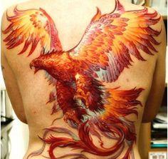 Orange Phoenix Back Tattoo