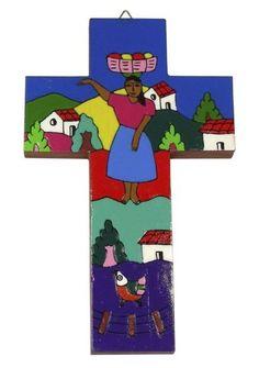EL SALVADOR FOLK ART CROSS GIRL 13-15CM