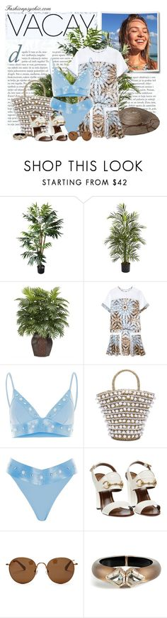 """""""Me And My New Bikini Needs A Vacay..."""" by fashionpsychic on Polyvore featuring TradeMark, Nearly Natural, Philosophy di Alberta Ferretti, Mystique, Gucci, The Row, Alexis Bittar, BeachPlease and vacayoutfit"""