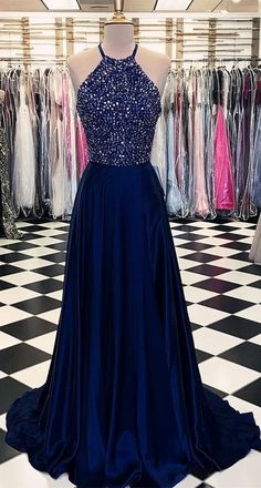 Luxurious Crystal Halter Prom Dresses Long Satin Leg Split Evening Gowns, Shop plus-sized prom dresses for curvy figures and plus-size party dresses. Ball gowns for prom in plus sizes and short plus-sized prom dresses for Halter Prom Dresses Long, Navy Prom Dresses, Beaded Prom Dress, Pretty Dresses, Sexy Dresses, Long Dresses, Prom Long, Elegant Dresses, Beaded Top