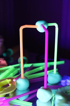 use straws to build with playdough