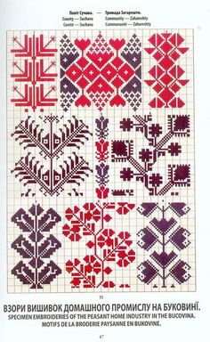 Ukrainian and Romanian embroidery of Bukovyna-Bucovina Border Embroidery Designs, Folk Embroidery, Cross Stitch Embroidery, Embroidery Patterns, Cross Stitch Borders, Cross Stitch Designs, Cross Stitch Patterns, Knitting Charts, Knitting Stitches