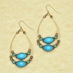 Avenue Beaded Wire Hoop Earrings(Nickel Free) Womens Plus Size