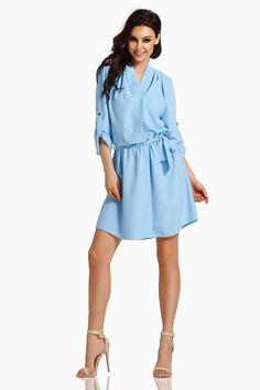 f364c6ce82 Koszulowa Sukienka z Paskiem do Przewiązania Błękitna LEL300