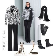 Etcetera | Holiday 2015: PROWL dalmation print jacket with black YOGA pants, black ZORRO scarf and black LADY gloves. www.etcetera.com.