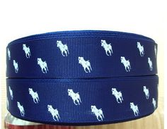 3 yard Preppy Polo Horse White on Blue 7/8 inch by ALINssories, $3.90