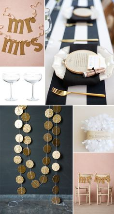 navy, gold and blush