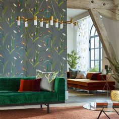 Saona wallpaper portrays an abstract flower head resembling an iris or lily as well as bulrushes and pond-like motifs. FREE shipping!     Available in Australia from www.silkinteriors.com.au    #wallpaper #wallpaperaccentwalls #wallpaperforwalls #harlequi