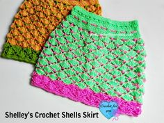 Shelley's Crochet Shells Skirt crochet pattern is a crochet skirt for 1 and 2 years old little girls. To get a bigger size you can use worsted weight yarn.