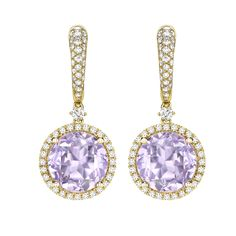 Lavender Amethyst and Diamond Drop Earrings in 18ct Yellow Gold
