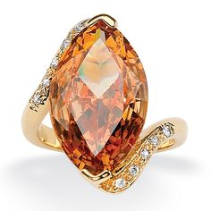 8.04 TCW Marquise-Cut Champagne-Color Cubic Zirconia White Cubic Zirconia Accent 18k Yellow Gold-Plated Cocktail Ring