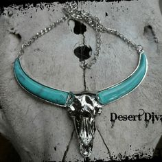 Stunning Longhorn Skull Necklace Statement Longhorn Faux Turquoise Necklace.  Color variations vary in each necklace.  Western, Boho, Gypsy, Hippie, Southwest. Jewelry Necklaces