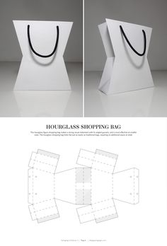 Hourglass Shopping Bag – FREE resource for structural packaging design dielines by lynne Packaging Nets, Packaging Dielines, Flower Packaging, Paper Packaging, Gift Packaging, Design Packaging, Shopping Bag Design, Paper Bag Design, Paper Purse