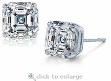 Ziamond Cubic Zirconia 4 carat (9mm) each Asscher Cut Inspired Studs in choice of 14k / 18k/ platinum settings.