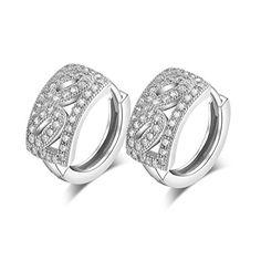 Sterling Silver Simulated Diamond Hoop Earrings ESCH8072
