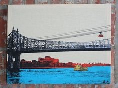 Stretched Linen 59th St Bridge and Roosevelt Island