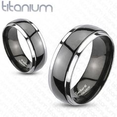 Solid Titanium Men's Ring With 2 Tone Black Dome Wedding Band Engagement Ring Black Wedding Rings, Custom Wedding Rings, Wedding Rings For Women, Titanium Rings For Men, Titanium Wedding Rings, Wedding Ring Bands, Black Band Ring, Black Rings, Tanzanite Engagement Ring