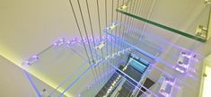 A glass staircase continues the transparent theme, and is lit to give an impressive effect, though looking down may not be for the faint hearted!
