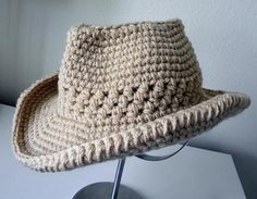 Watch This Video Beauteous Finished Make Crochet Look Like Knitting (the Waistcoat Stitch) Ideas. Amazing Make Crochet Look Like Knitting (the Waistcoat Stitch) Ideas. Crochet Cowboy Hats, Crochet Adult Hat, Crochet Beanie, Crochet Baby, Knitted Hats, Knit Crochet, Double Crochet, Single Crochet, Free Crochet