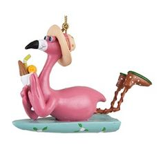 Pink Flamingo on Surfboard 3.75 Inch Resin Christmas Holiday Ornament